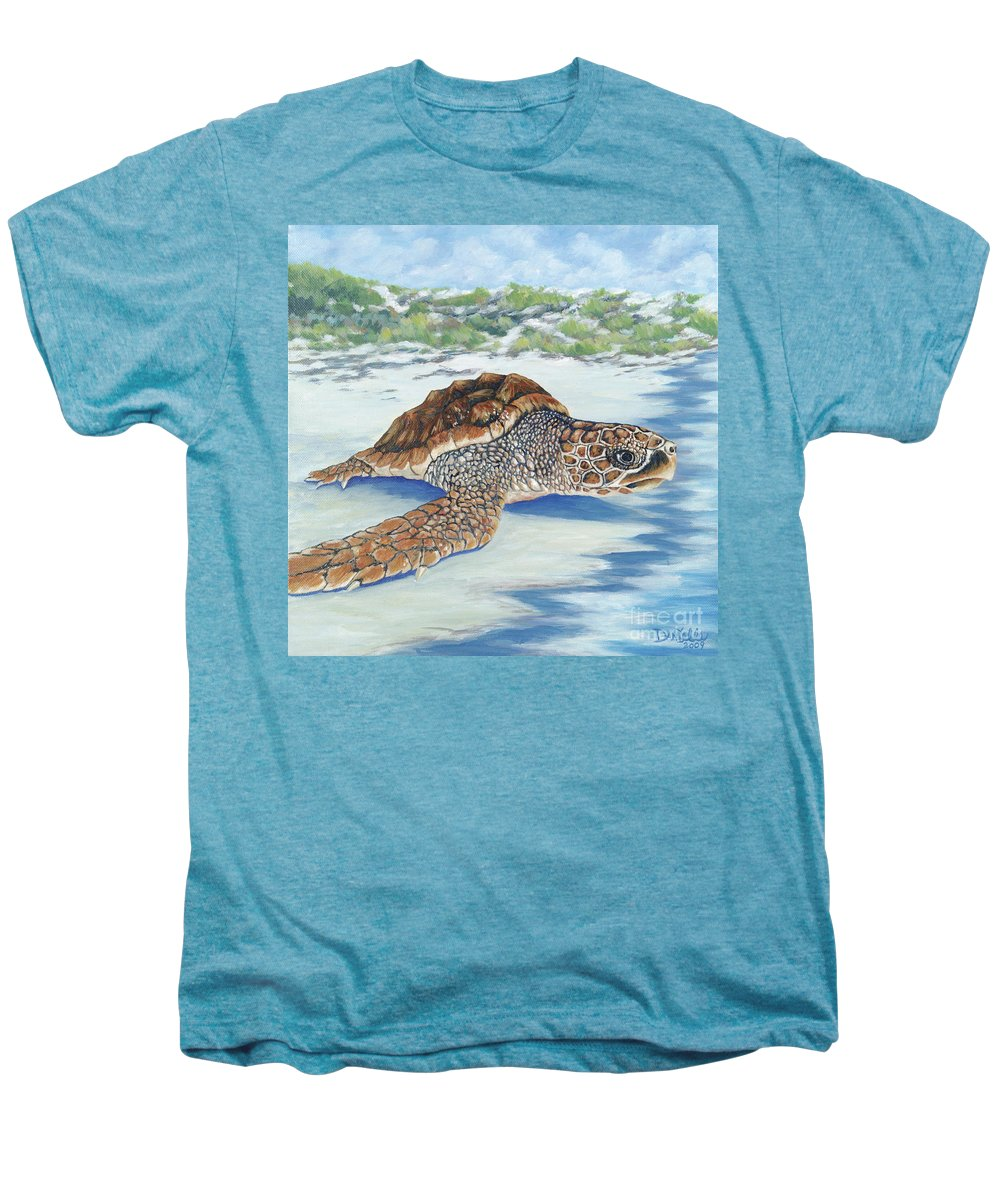 Sea Turtle Men's Premium T-Shirt featuring the painting Dreaming Of Islands by Danielle Perry