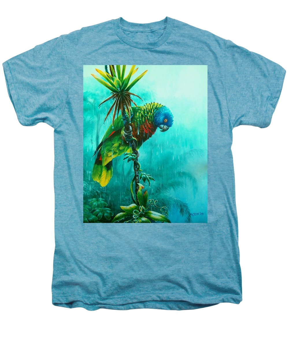 Chris Cox Men's Premium T-Shirt featuring the painting Drenched - St. Lucia Parrot by Christopher Cox