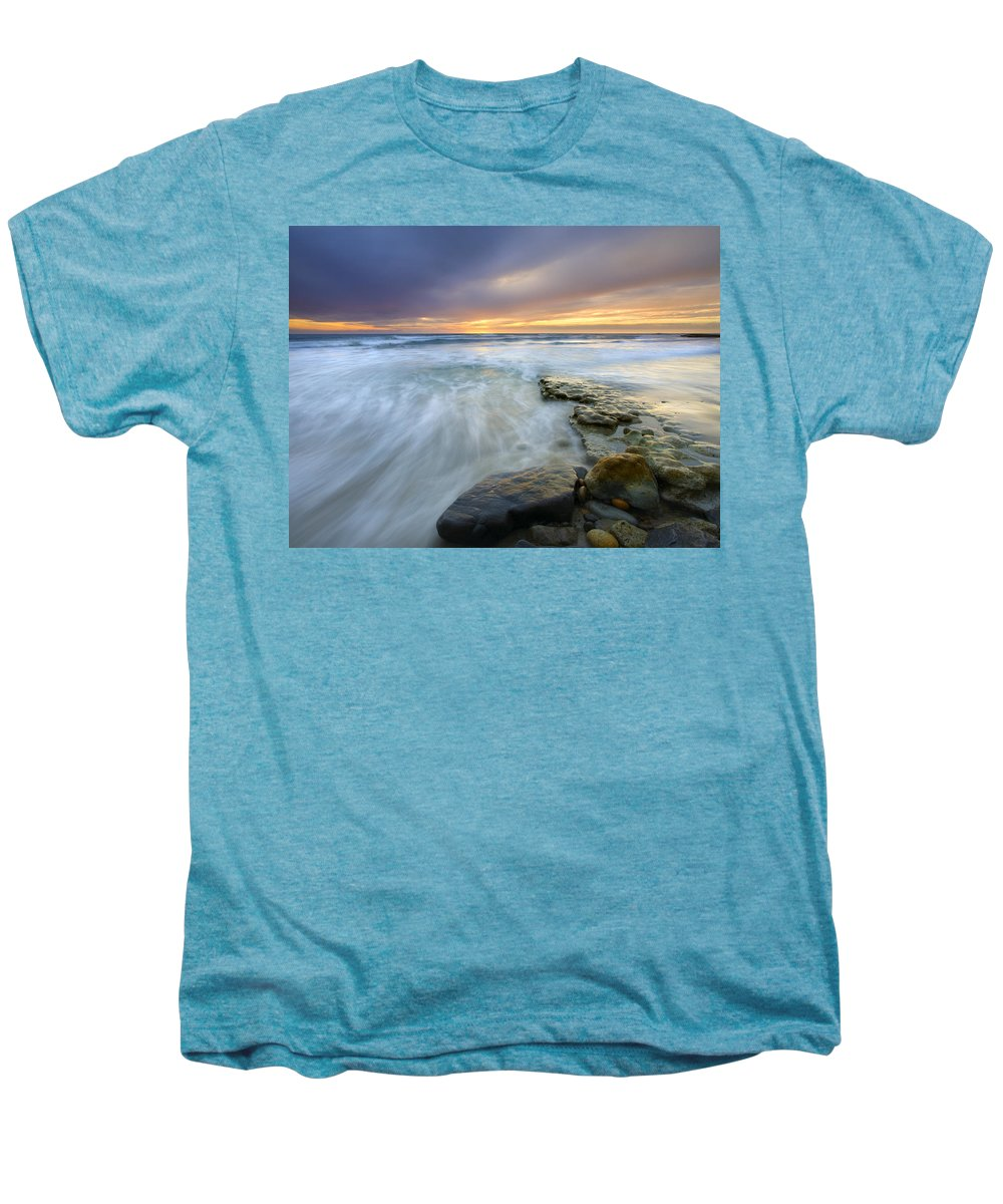 Rocks Men's Premium T-Shirt featuring the photograph Driven Before The Storm by Mike Dawson