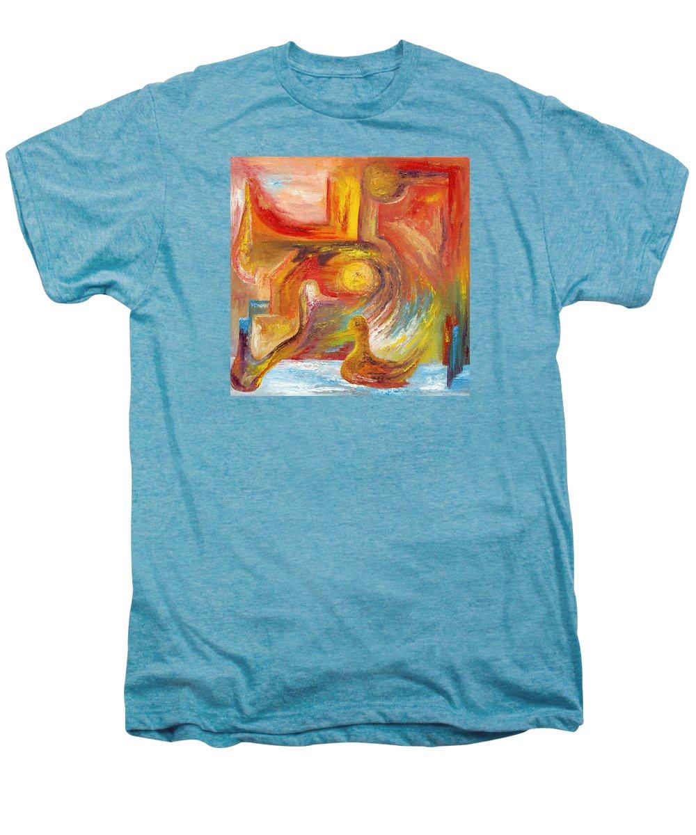 Duck Men's Premium T-Shirt featuring the painting Duck The Alchemist by Karina Ishkhanova