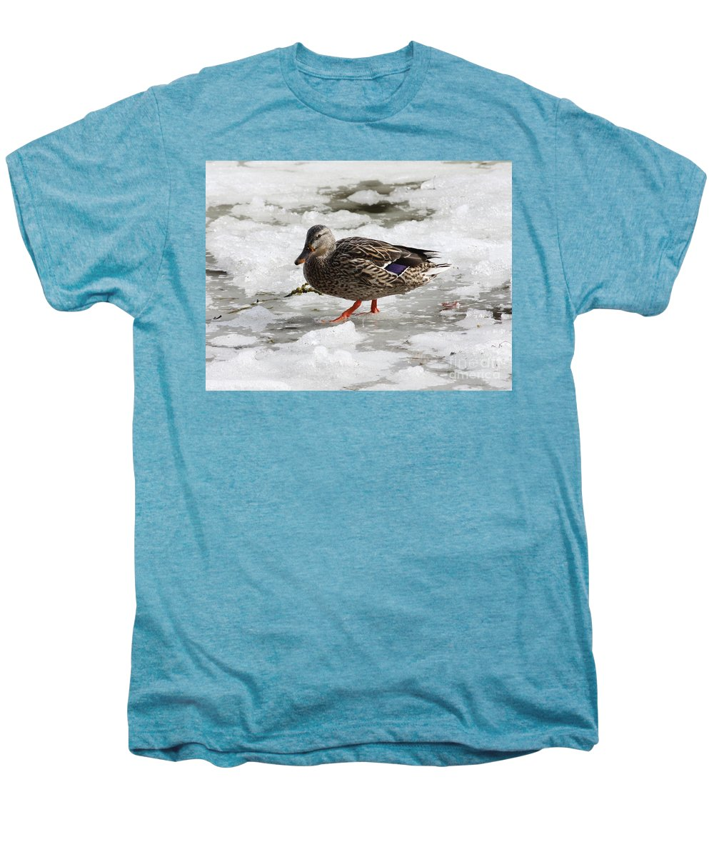 Duck Men's Premium T-Shirt featuring the photograph Duck Walking On Thin Ice by Carol Groenen