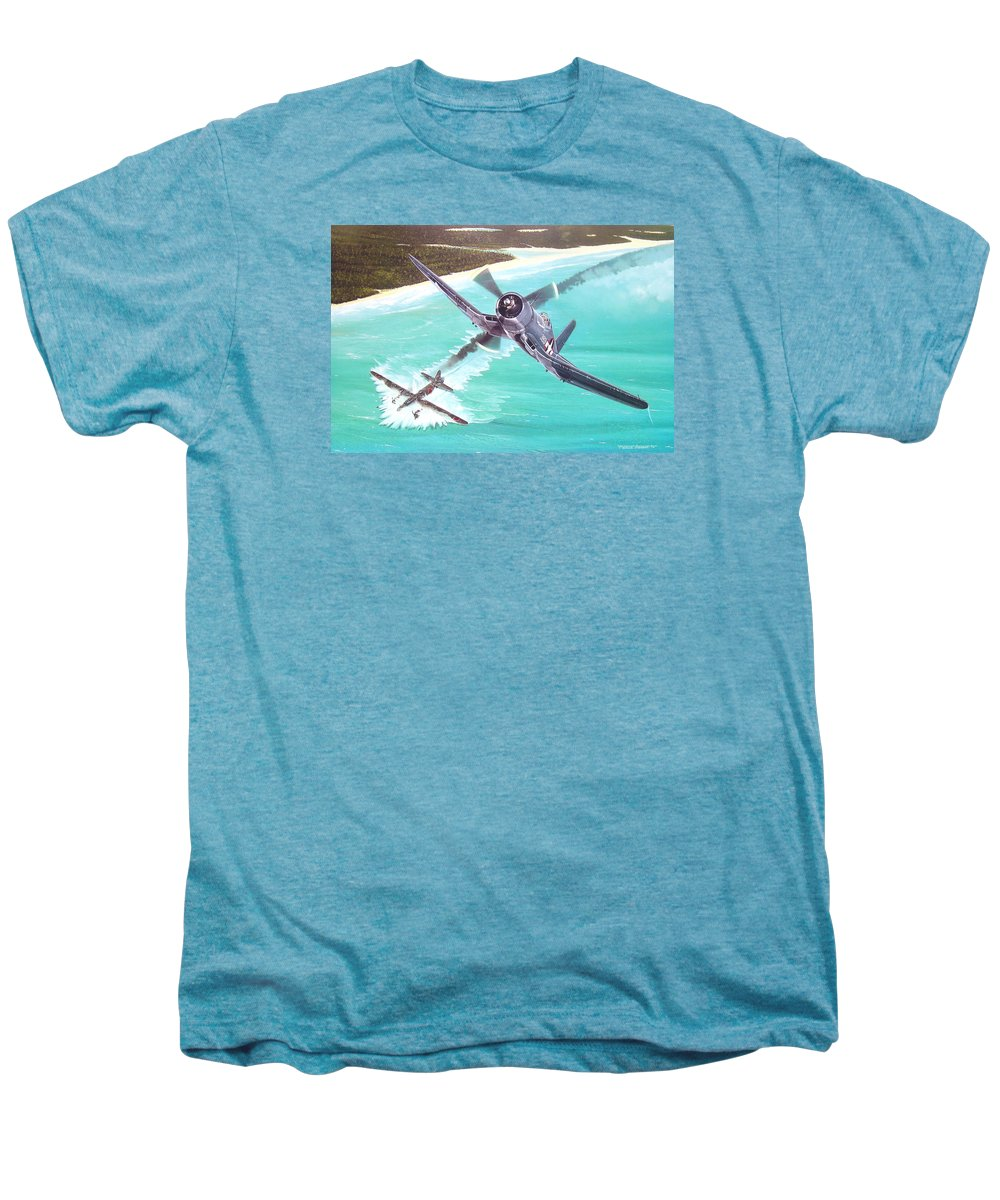 Military Men's Premium T-Shirt featuring the painting Duel Over New Georgia by Marc Stewart