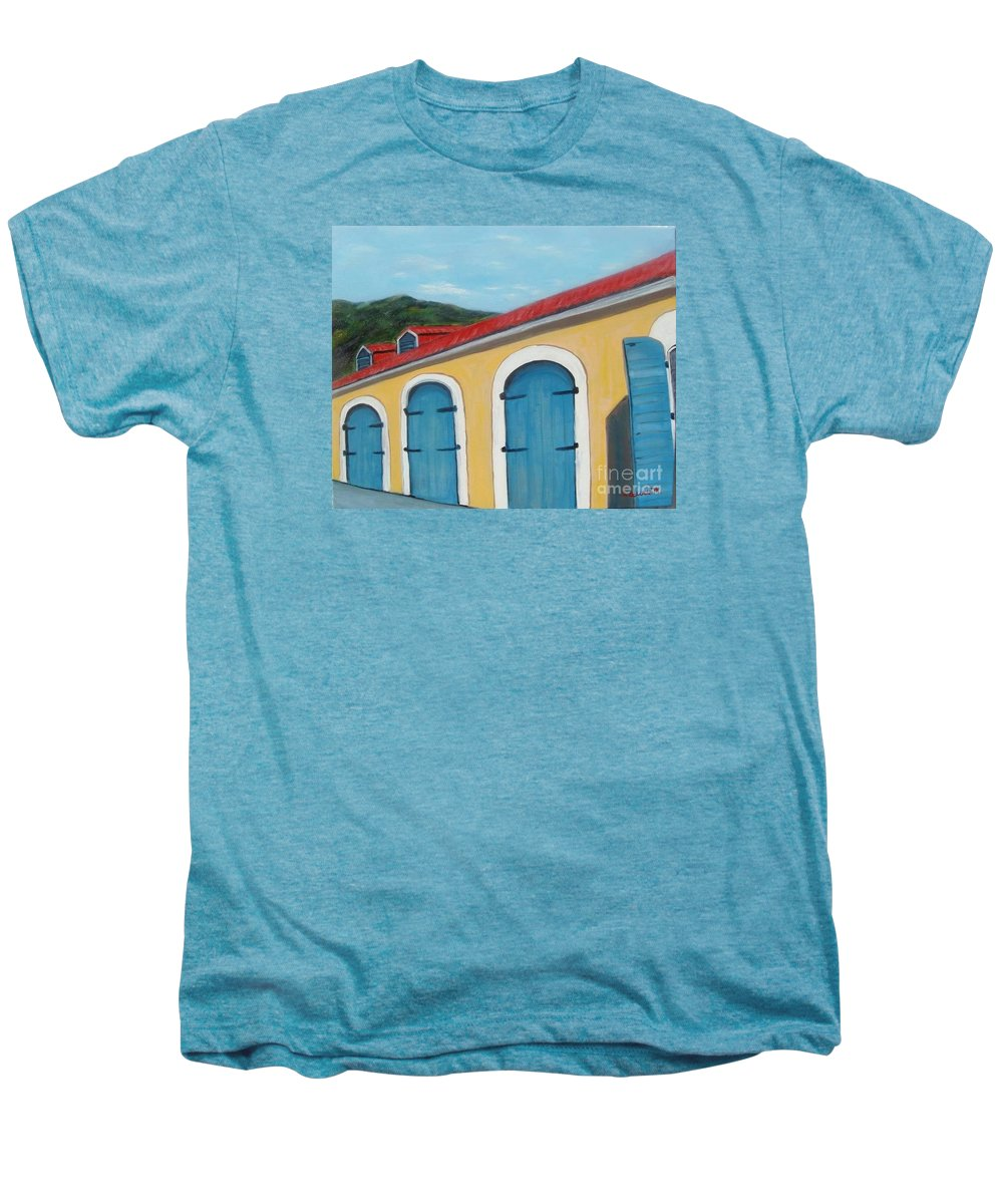 Doors Men's Premium T-Shirt featuring the painting Dutch Doors Of St. Thomas by Laurie Morgan