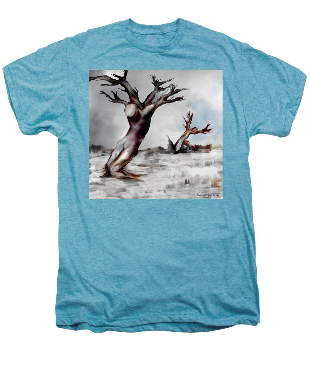Trees Soul Nature Sky Storm Freedom Men's Premium T-Shirt featuring the mixed media Earthbound by Veronica Jackson