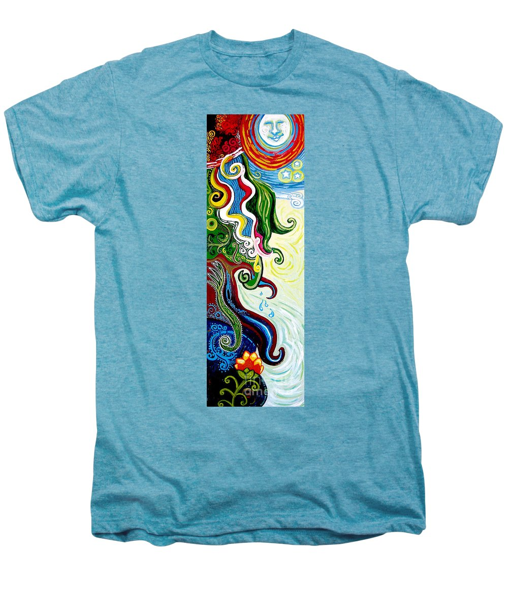 Mother Earth Men's Premium T-Shirt featuring the painting Earths Tears by Genevieve Esson