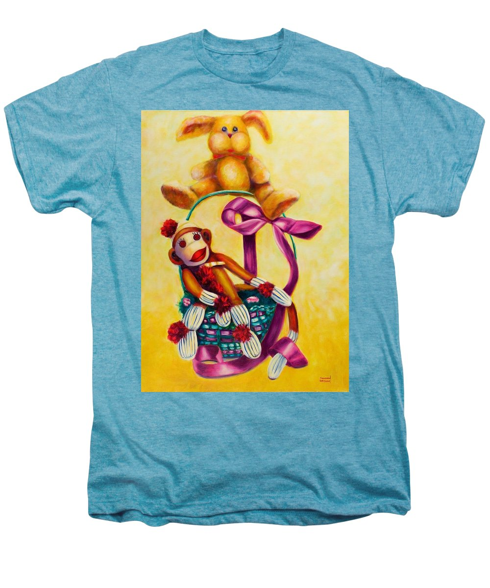 Easter Men's Premium T-Shirt featuring the painting Easter Made Of Sockies by Shannon Grissom