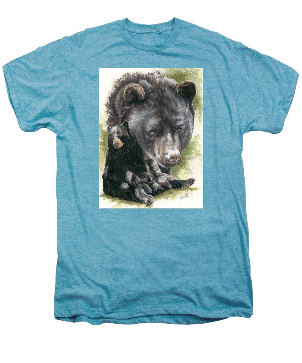 Black Bear Men's Premium T-Shirt featuring the mixed media Ebony by Barbara Keith