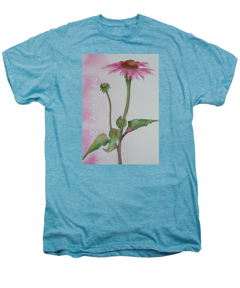 Flower Men's Premium T-Shirt featuring the painting Echinacea by Ruth Kamenev