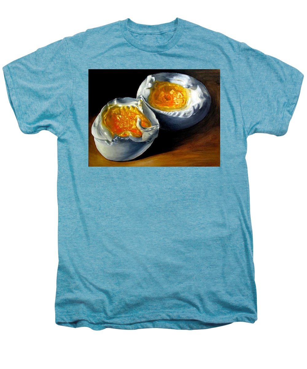 Eggs Men's Premium T-Shirt featuring the painting Eggs Contemporary Oil Painting On Canvas by Natalja Picugina