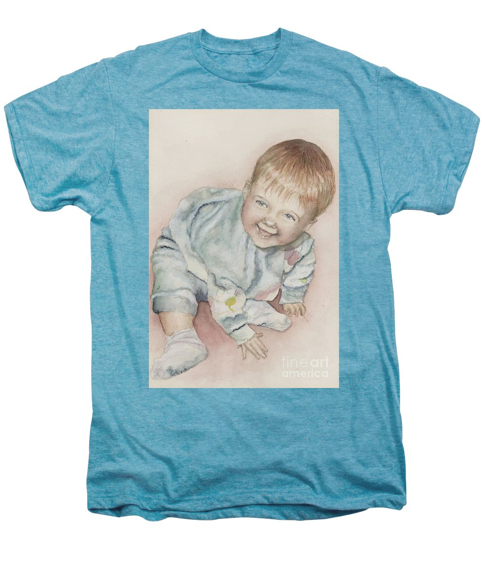 Girl Men's Premium T-Shirt featuring the painting Elise by Nadine Rippelmeyer
