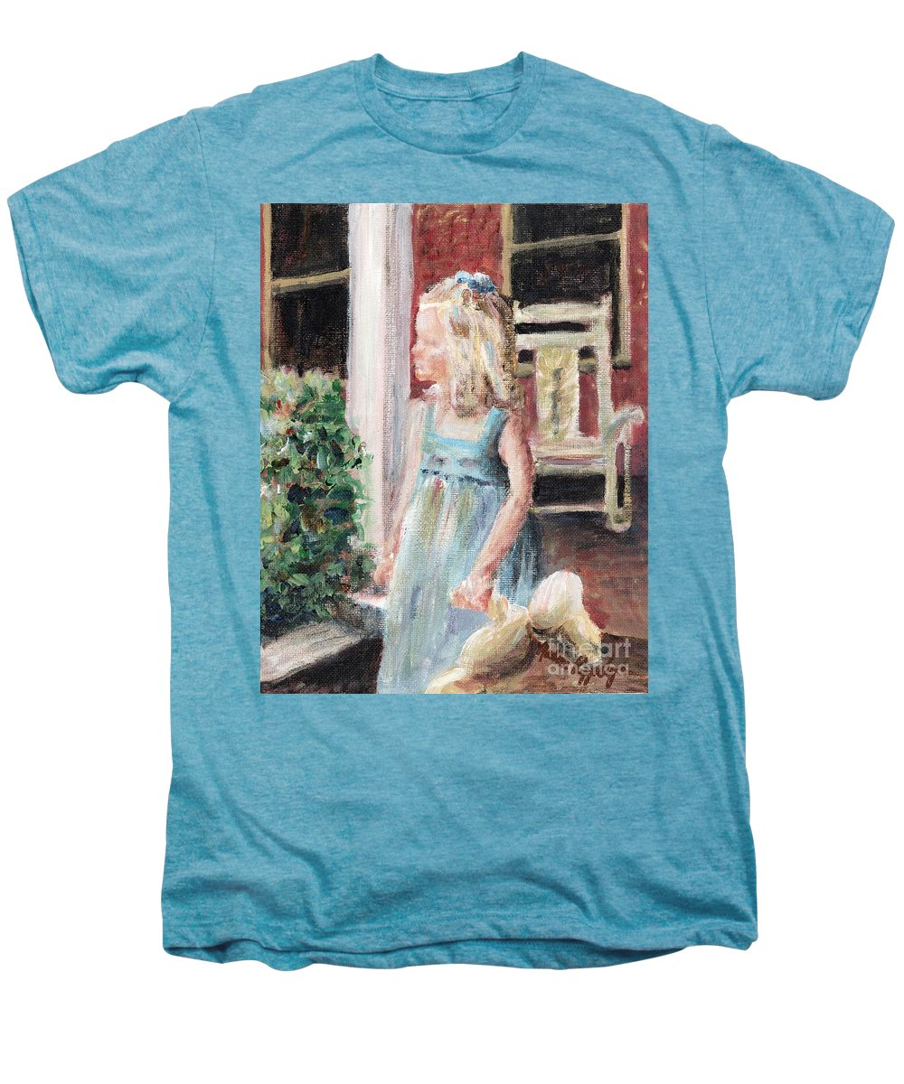 Girl Men's Premium T-Shirt featuring the painting Elizabeth Anne by Nadine Rippelmeyer