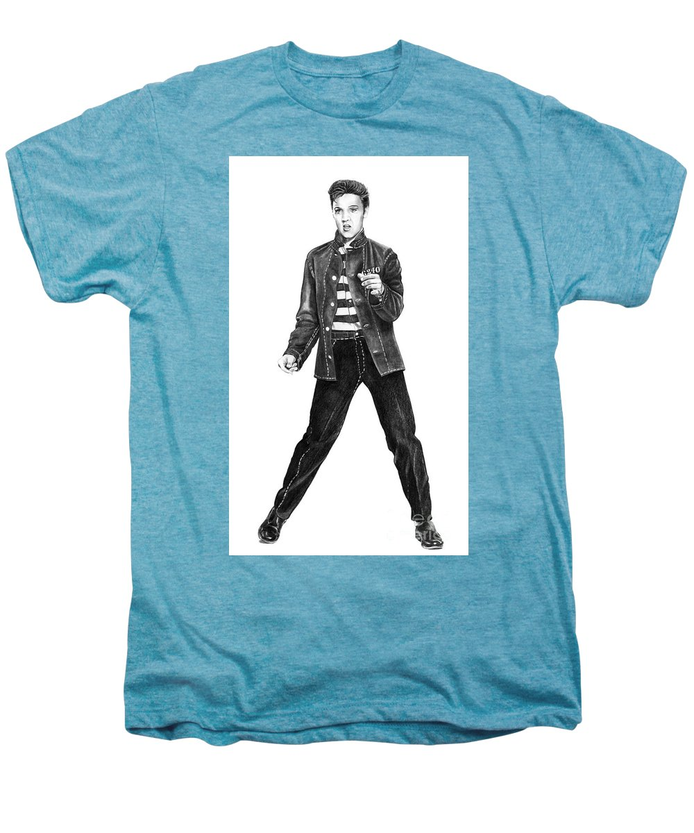 Elvis Men's Premium T-Shirt featuring the drawing Elvis Presley  by Murphy Elliott