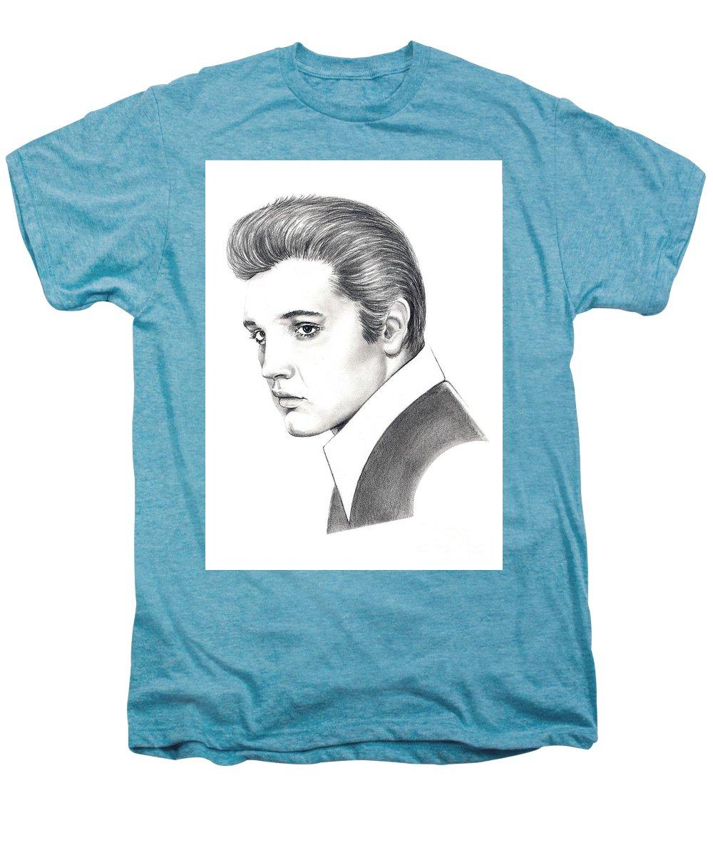 Pencil. Portrait Men's Premium T-Shirt featuring the drawing Elvis Presley by Murphy Elliott