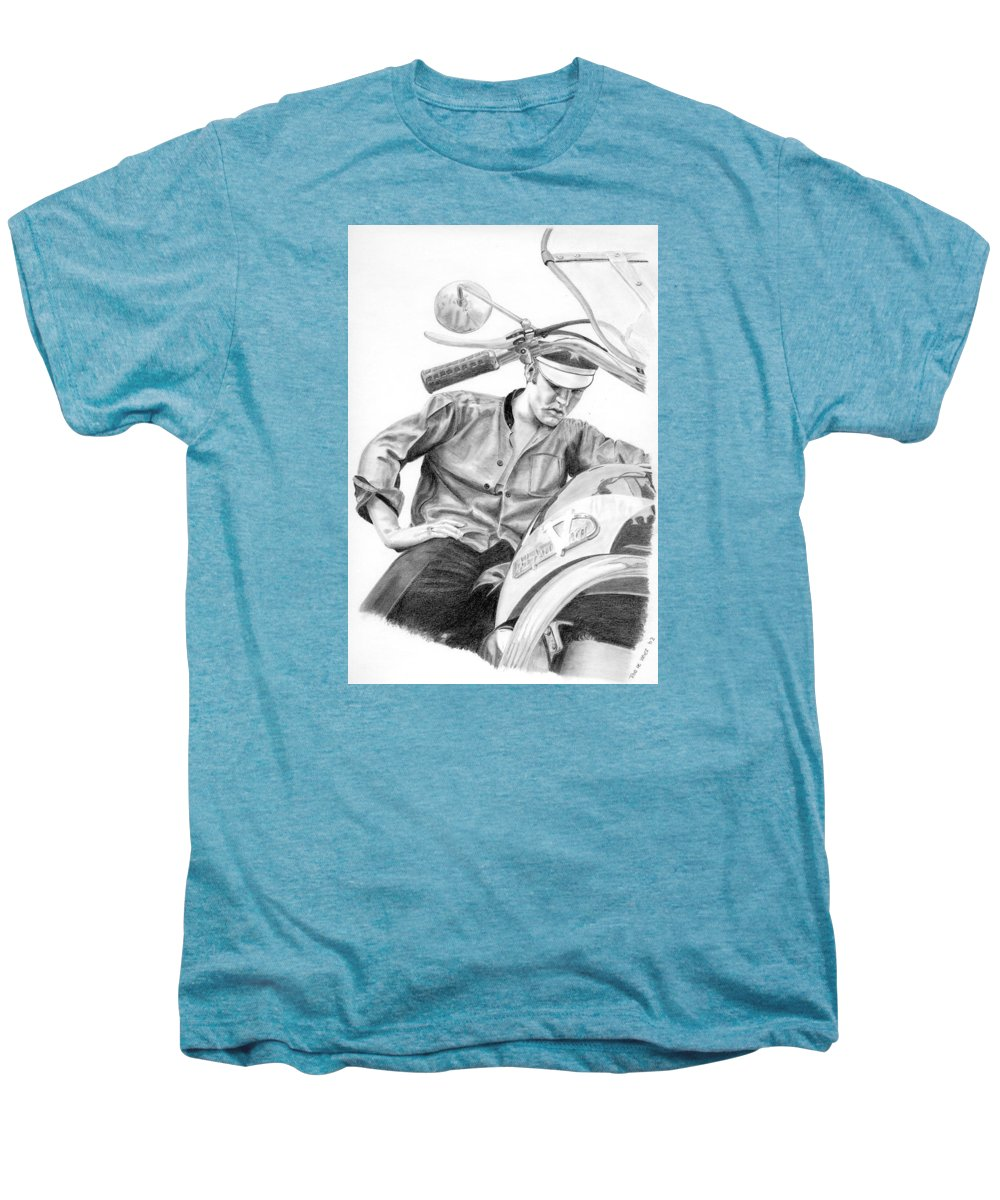 Singer Men's Premium T-Shirt featuring the drawing Elvis Presley by Rob De Vries