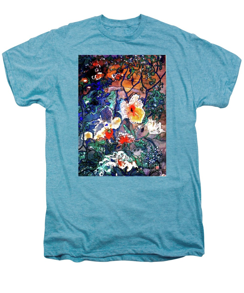 Landscape Men's Premium T-Shirt featuring the painting Enchanted Garden by Norma Boeckler