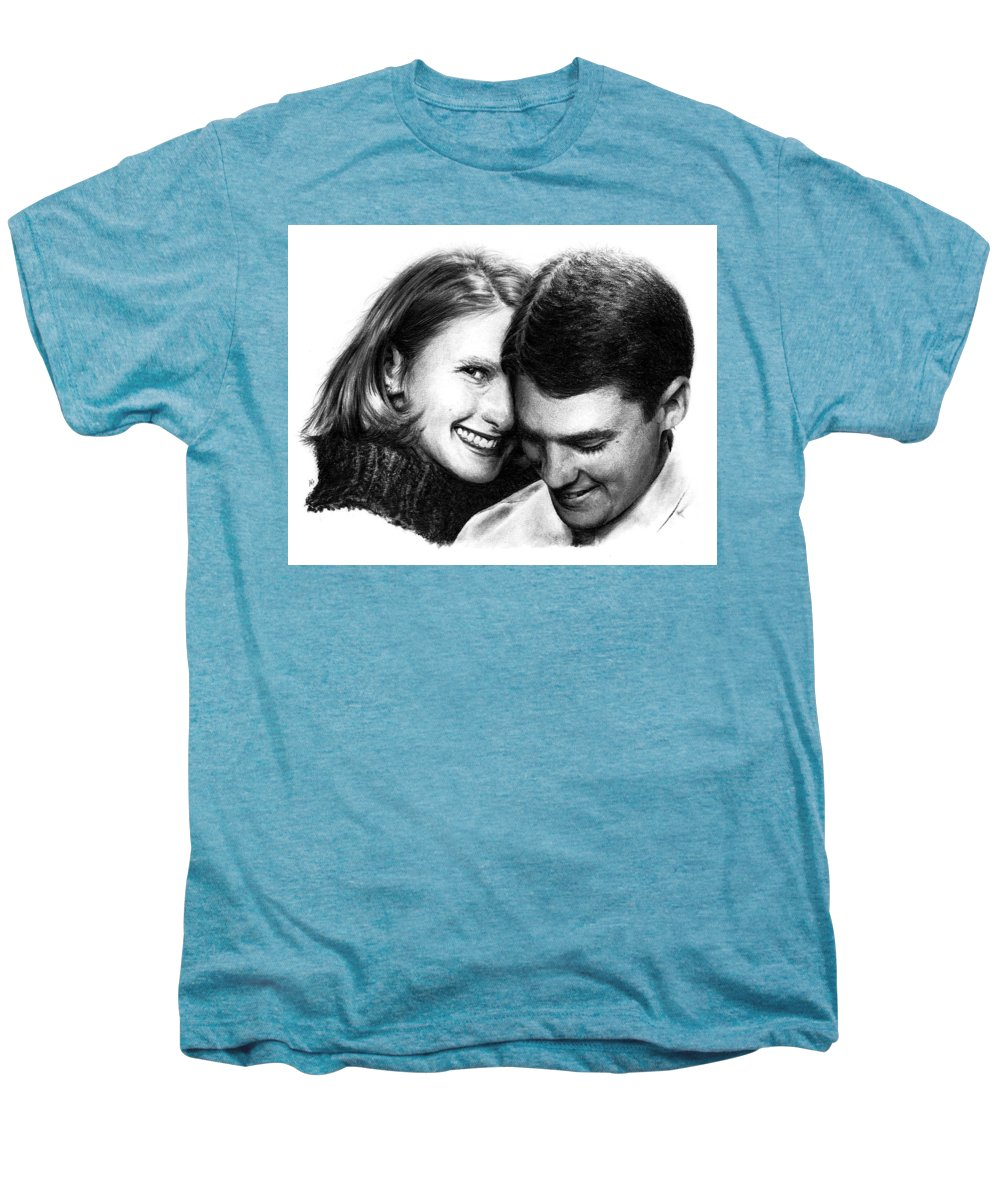 Portrait Men's Premium T-Shirt featuring the drawing Engaged by Rachel Christine Nowicki
