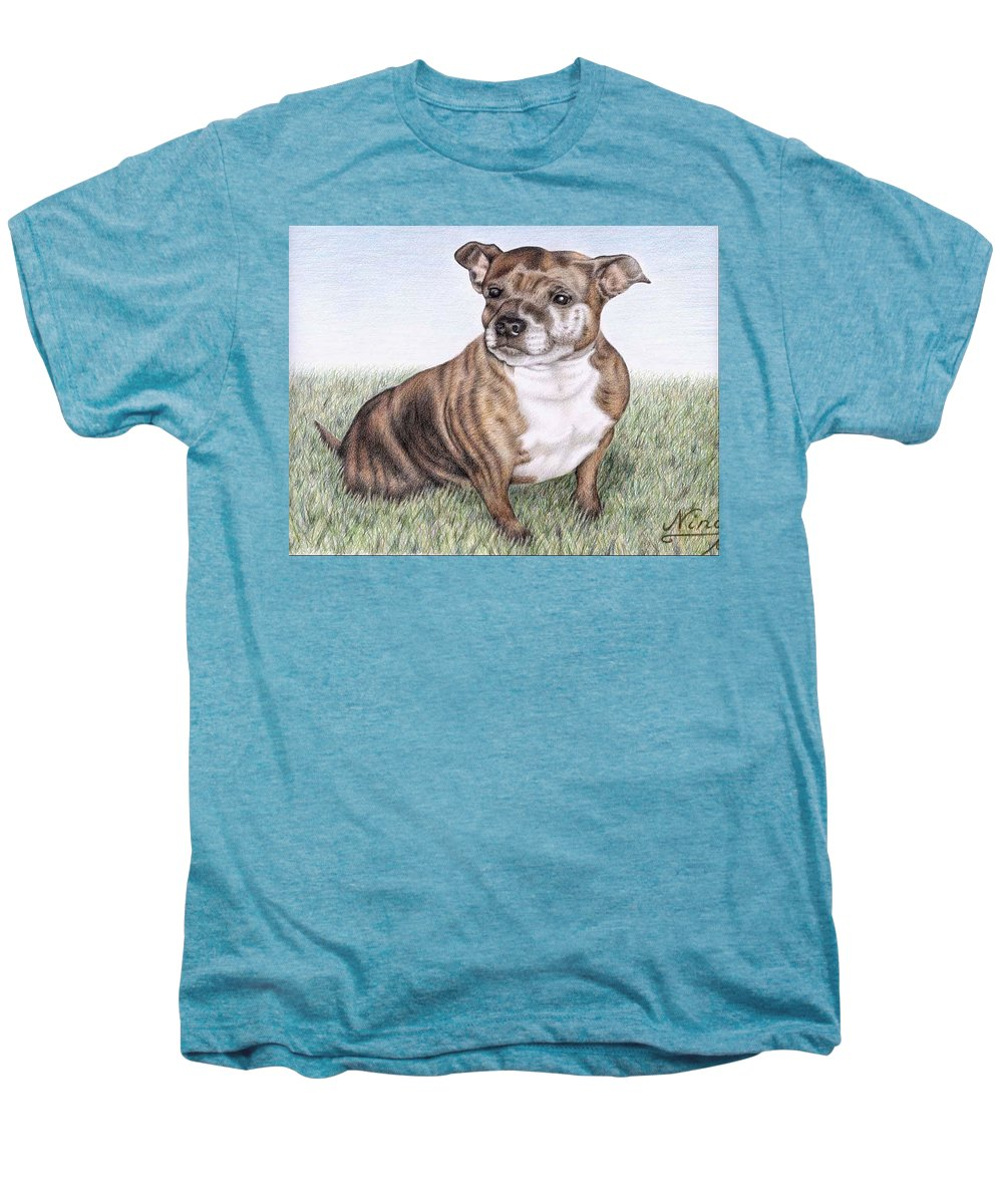 Dog Men's Premium T-Shirt featuring the drawing English Staffordshire Terrier by Nicole Zeug