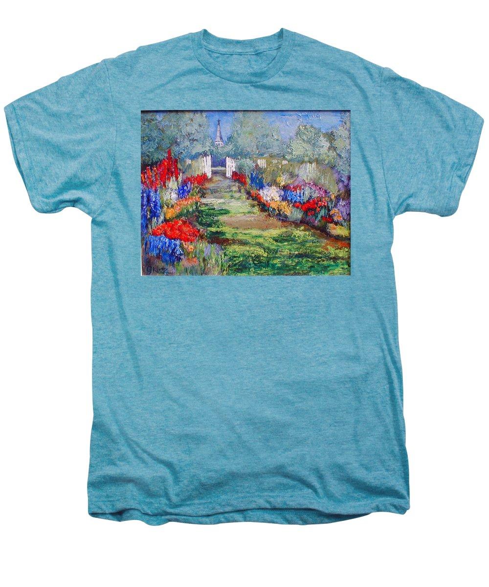 Landscape Men's Premium T-Shirt featuring the painting Enter His Gates by Gail Kirtz