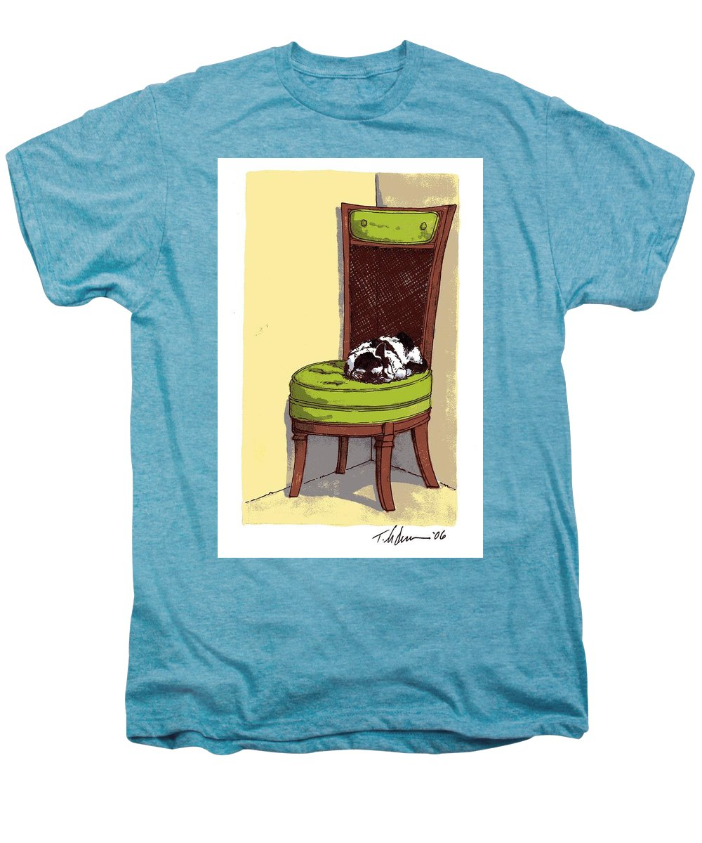 Cat Men's Premium T-Shirt featuring the drawing Ernie And Green Chair by Tobey Anderson