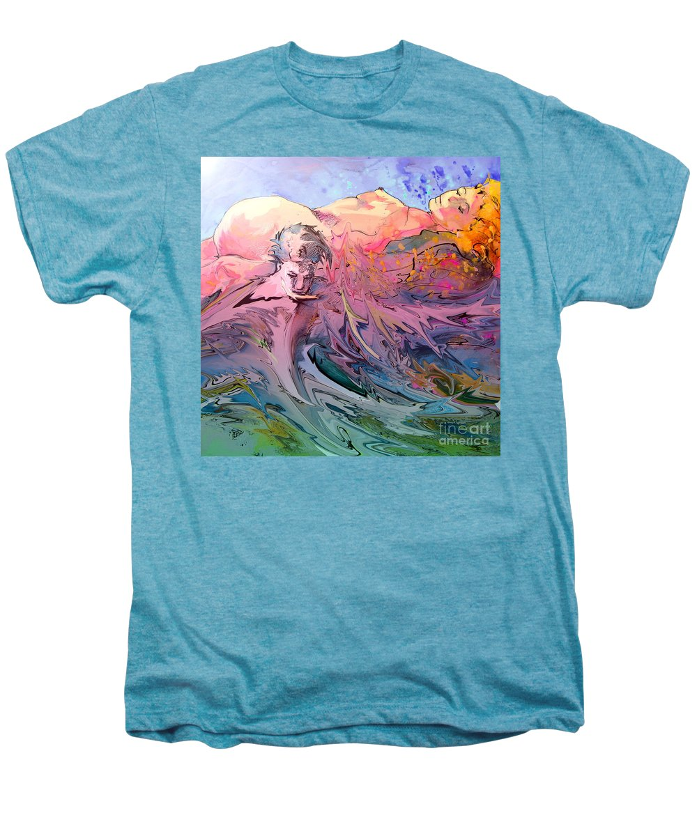 Miki Men's Premium T-Shirt featuring the painting Eroscape 10 by Miki De Goodaboom
