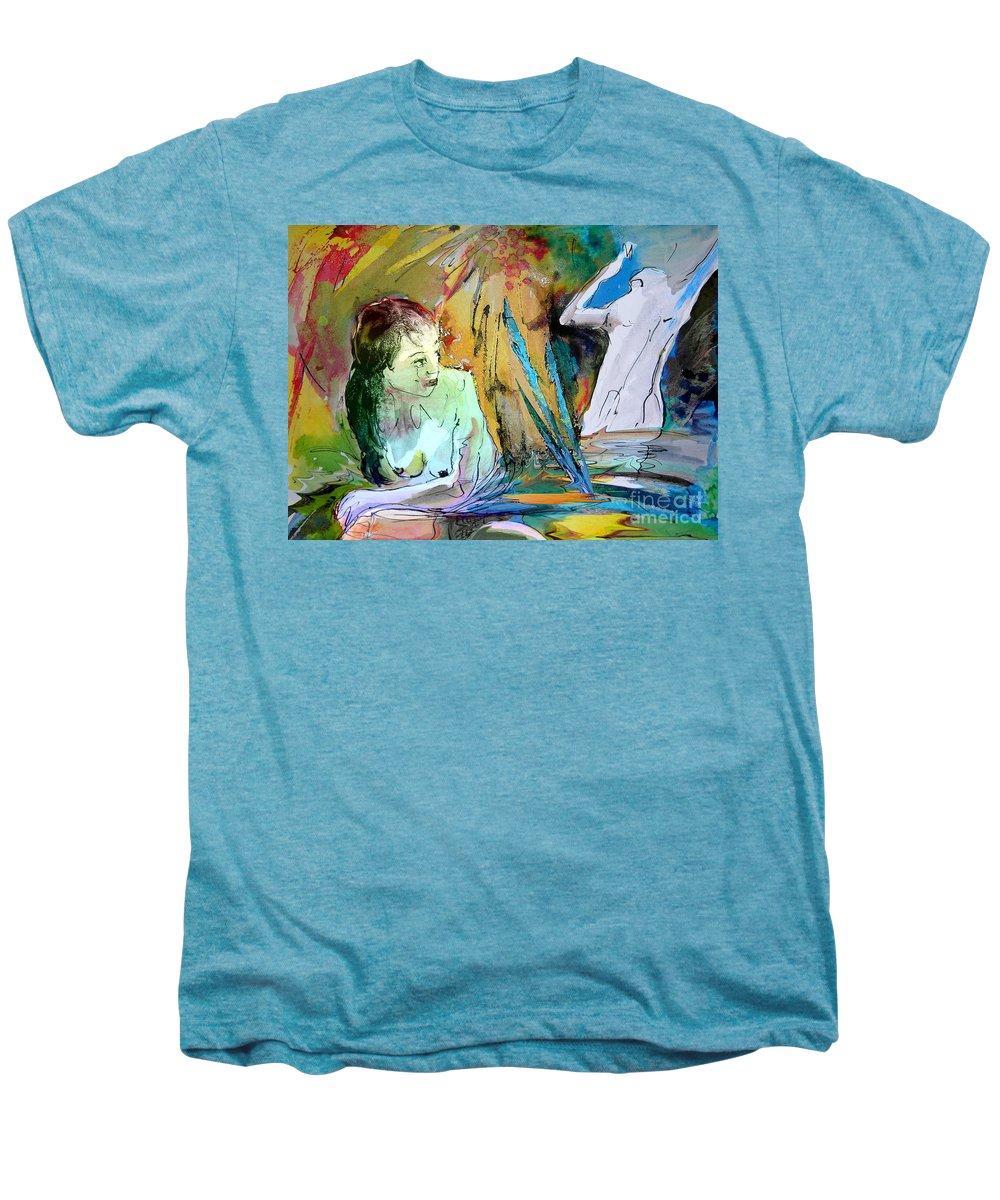 Miki Men's Premium T-Shirt featuring the painting Eroscape 15 1 by Miki De Goodaboom