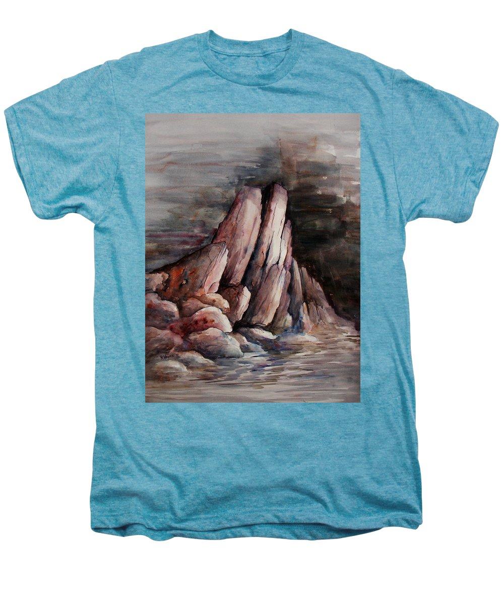 Landscape Men's Premium T-Shirt featuring the painting Eruption by Rachel Christine Nowicki