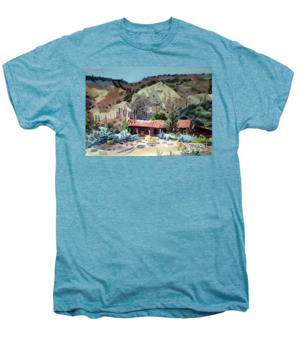 New Mexico Men's Premium T-Shirt featuring the painting Espanola On The Rio Grande by Donald Maier