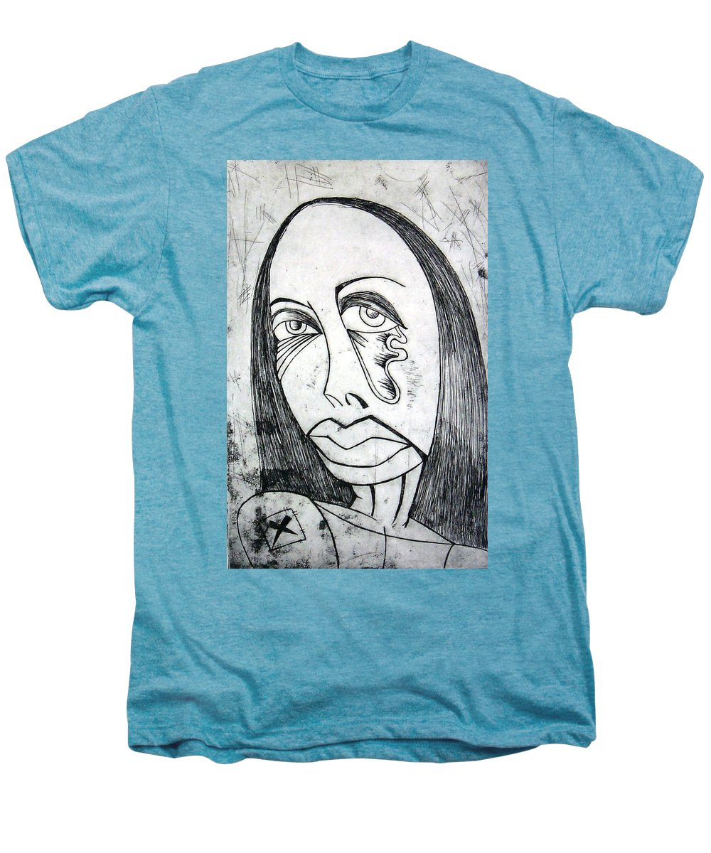 Girl Men's Premium T-Shirt featuring the print Etching by Thomas Valentine