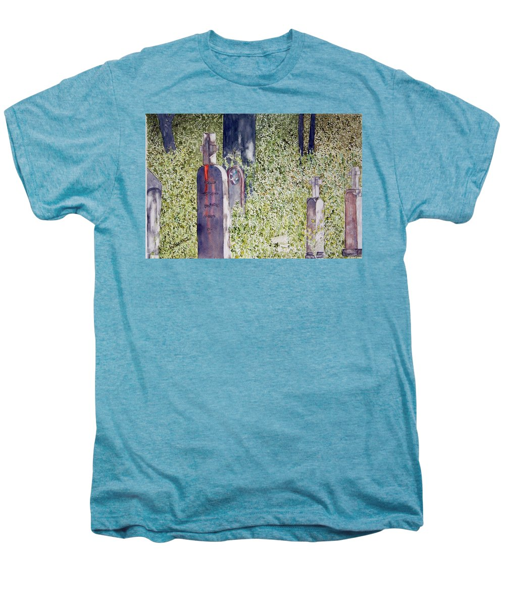 Cemeteries Men's Premium T-Shirt featuring the painting Eternity In Hoonah by Larry Wright