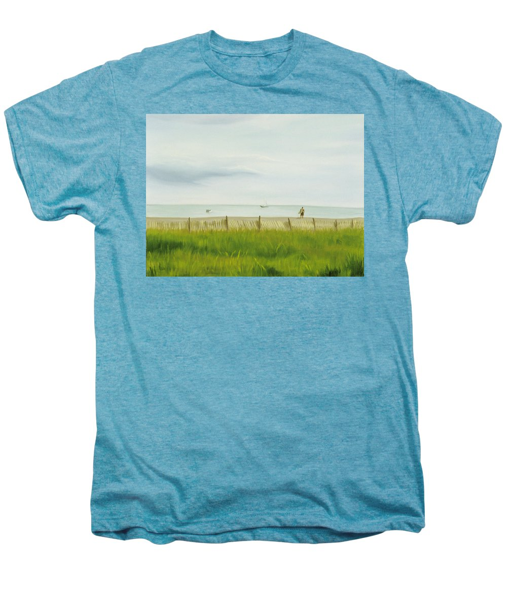 Seascape Men's Premium T-Shirt featuring the painting Evening At Cape May by Lea Novak