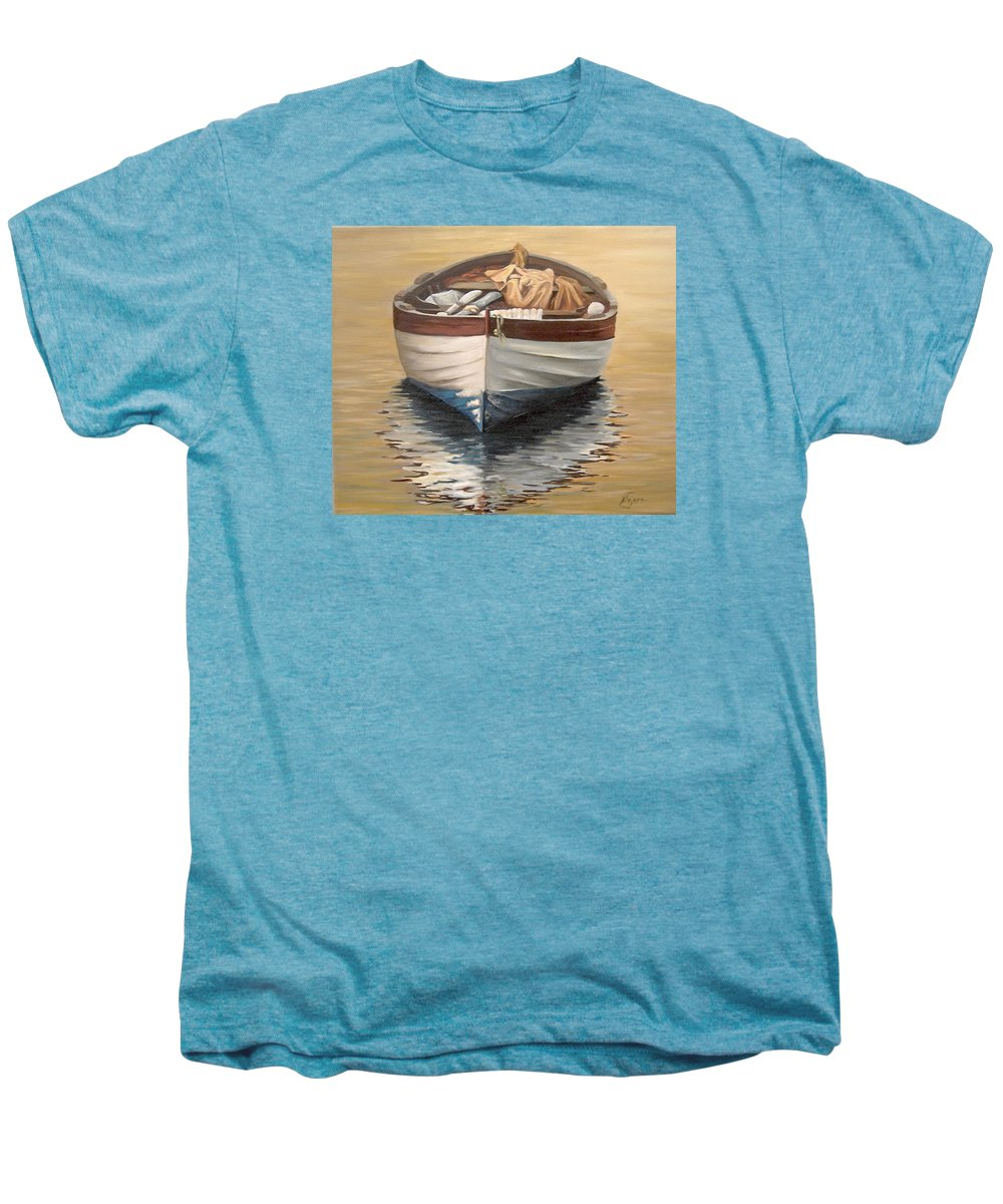 Boats Reflection Seascape Water Men's Premium T-Shirt featuring the painting Evening Boat by Natalia Tejera