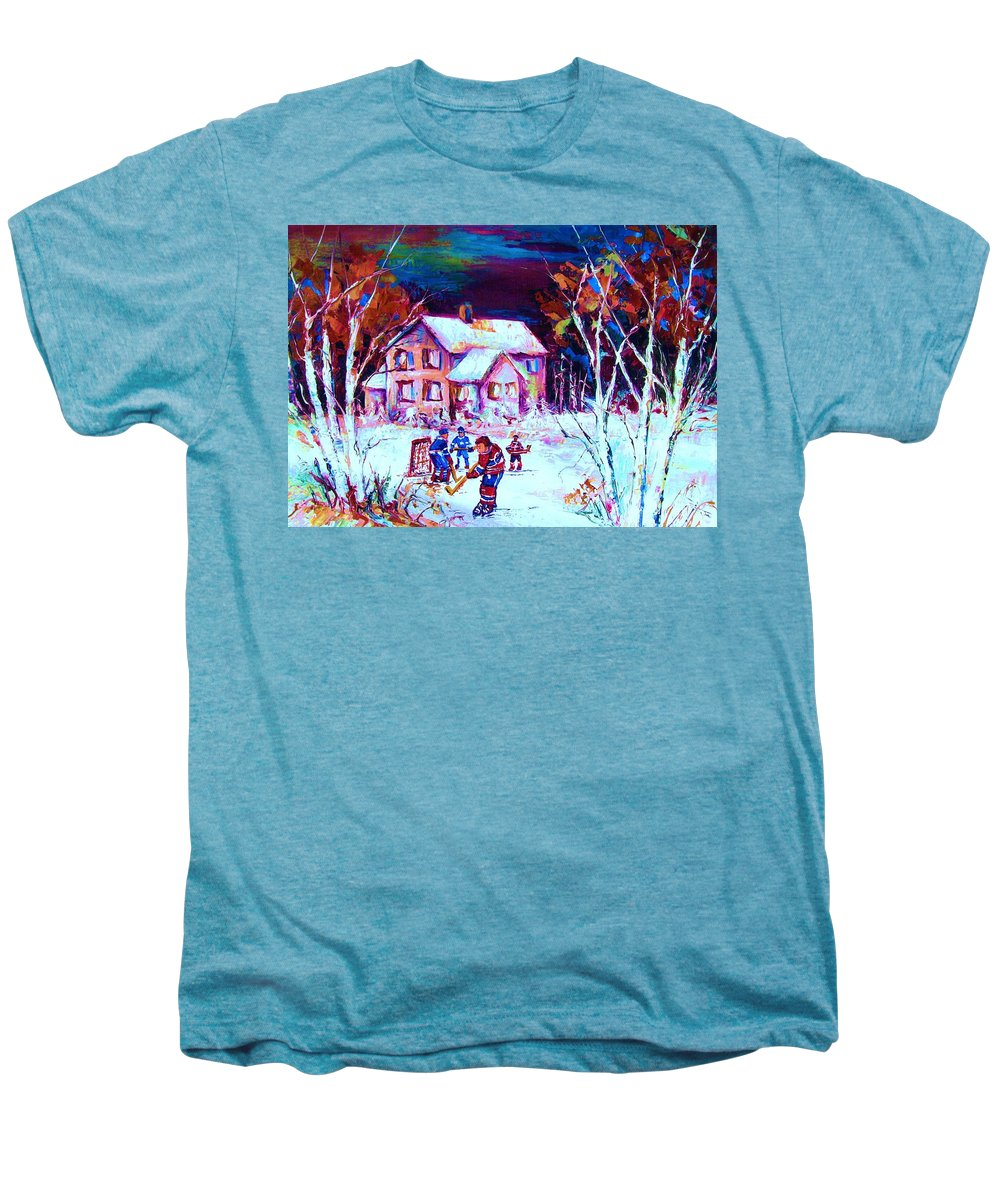 Hockey Game In The Country Men's Premium T-Shirt featuring the painting Evening Game At The Chalet by Carole Spandau