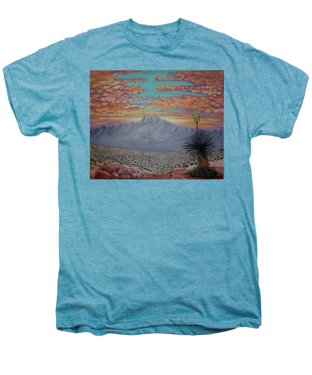 Desertscape Men's Premium T-Shirt featuring the painting Evening In The Desert by Marco Morales
