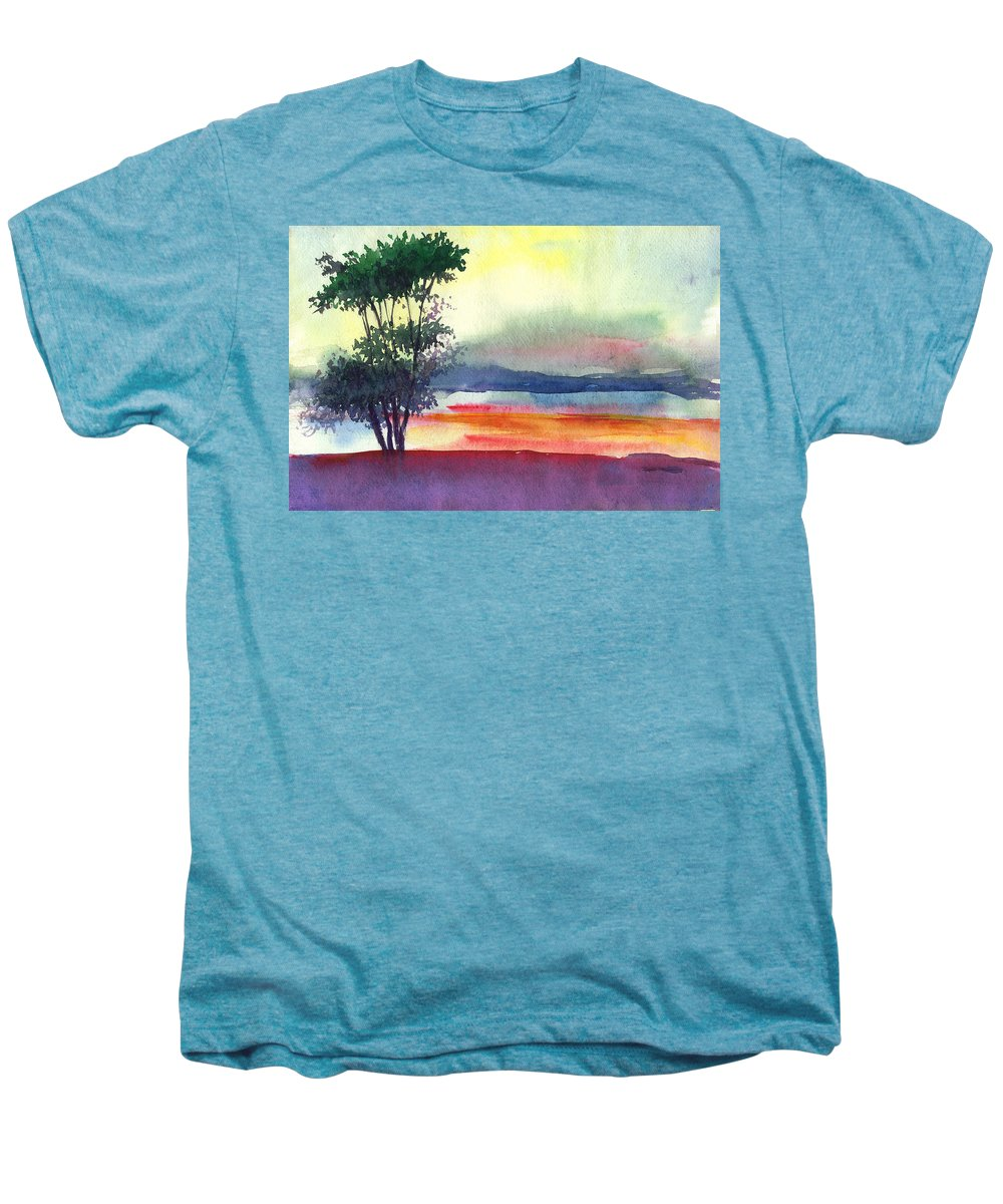 Water Color Men's Premium T-Shirt featuring the painting Evening Lights by Anil Nene