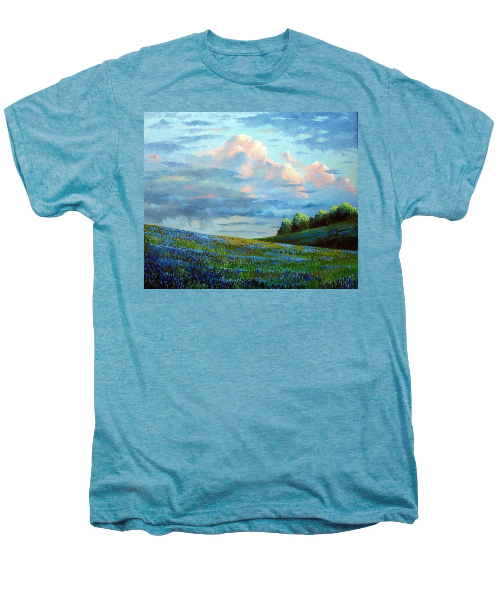 Landscape Men's Premium T-Shirt featuring the painting Evening Rain by David G Paul