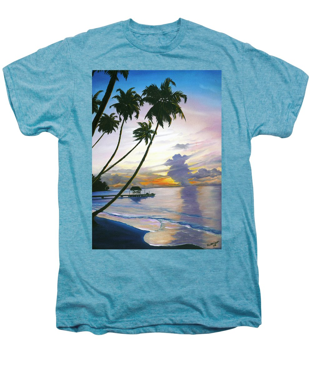 Ocean Painting Seascape Painting Beach Painting Sunset Painting Tropical Painting Tropical Painting Palm Tree Painting Tobago Painting Caribbean Painting Original Oil Of The Sun Setting Over Pigeon Point Tobago Men's Premium T-Shirt featuring the painting Eventide Tobago by Karin Dawn Kelshall- Best