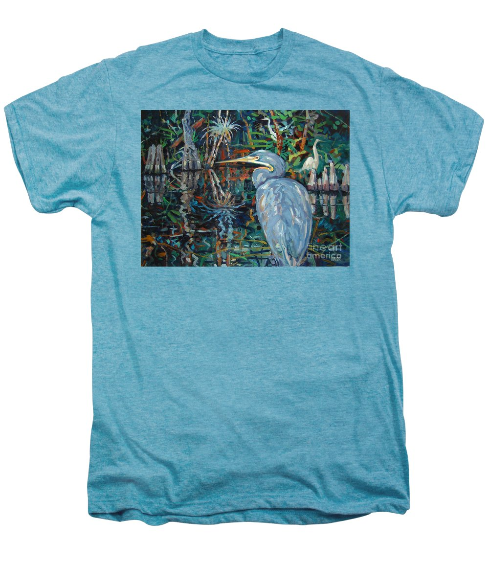 Blue Herron Men's Premium T-Shirt featuring the painting Everglades by Donald Maier