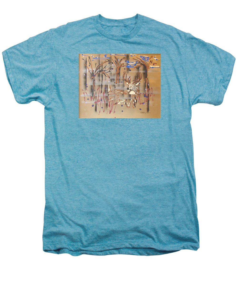Buck In Tree Line Men's Premium T-Shirt featuring the painting Everwatchful by J R Seymour