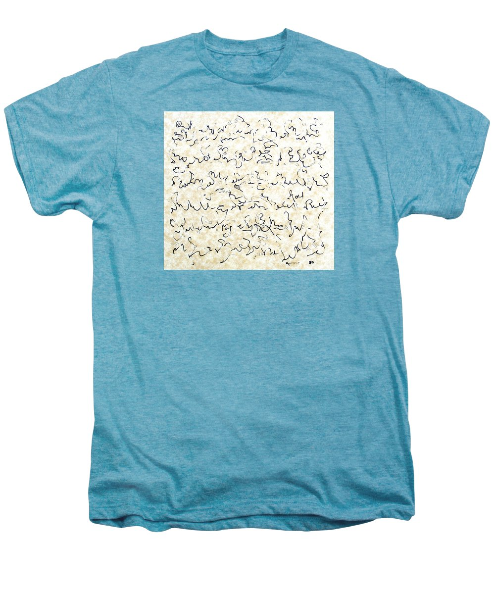 Calligraphy Men's Premium T-Shirt featuring the drawing Executive Summary With Notes by Dave Martsolf