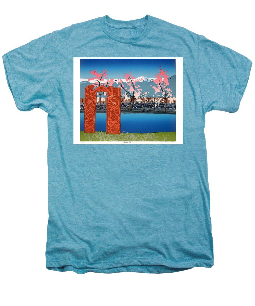 Landscape Men's Premium T-Shirt featuring the mixed media Exploration. by Jarle Rosseland