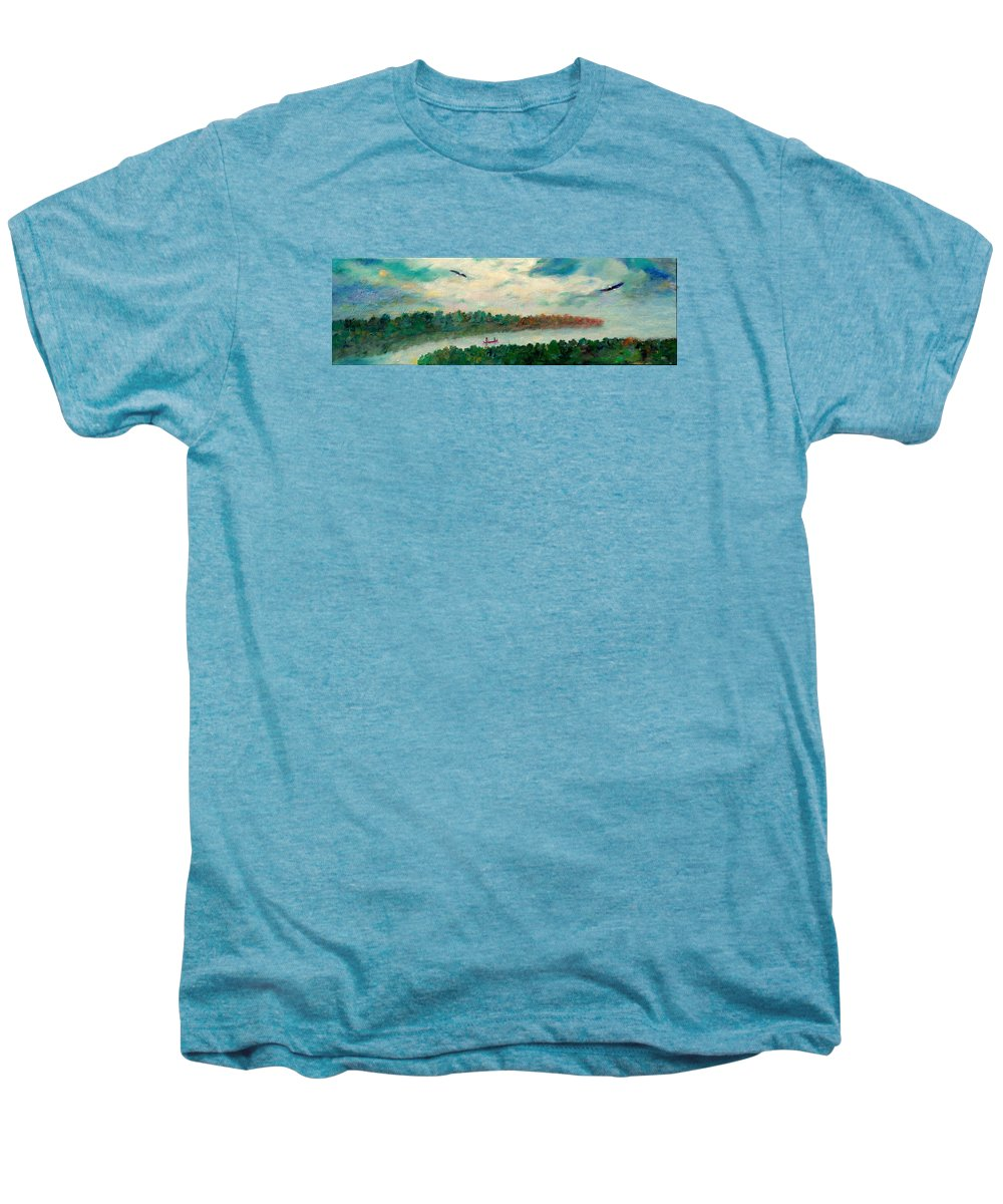 Canoeing On The Big Canadian Lakes Men's Premium T-Shirt featuring the painting Exploring Our Lake by Naomi Gerrard