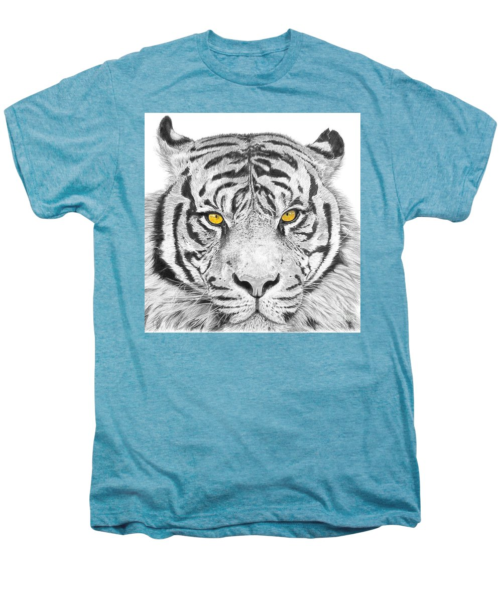 Tiger Men's Premium T-Shirt featuring the drawing Eyes Of The Tiger by Shawn Stallings