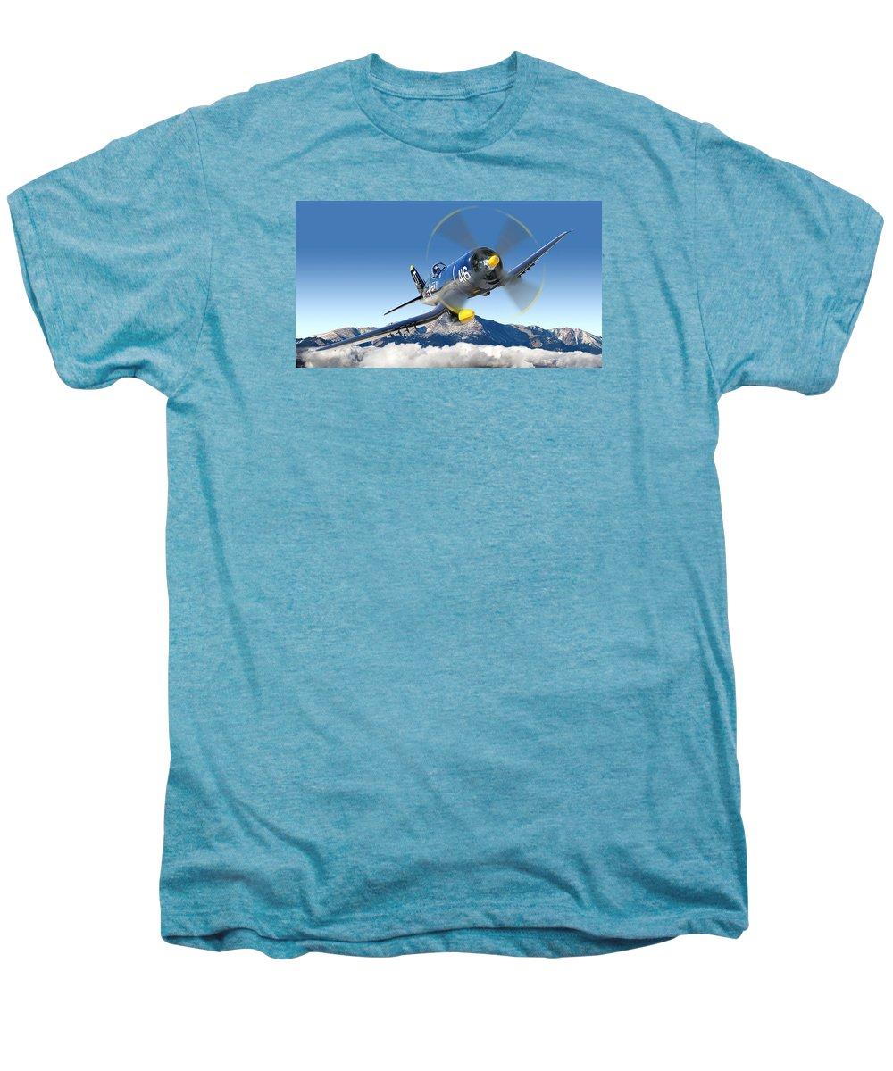 F4-u Corsair Men's Premium T-Shirt featuring the photograph F4-u Corsair by Larry McManus