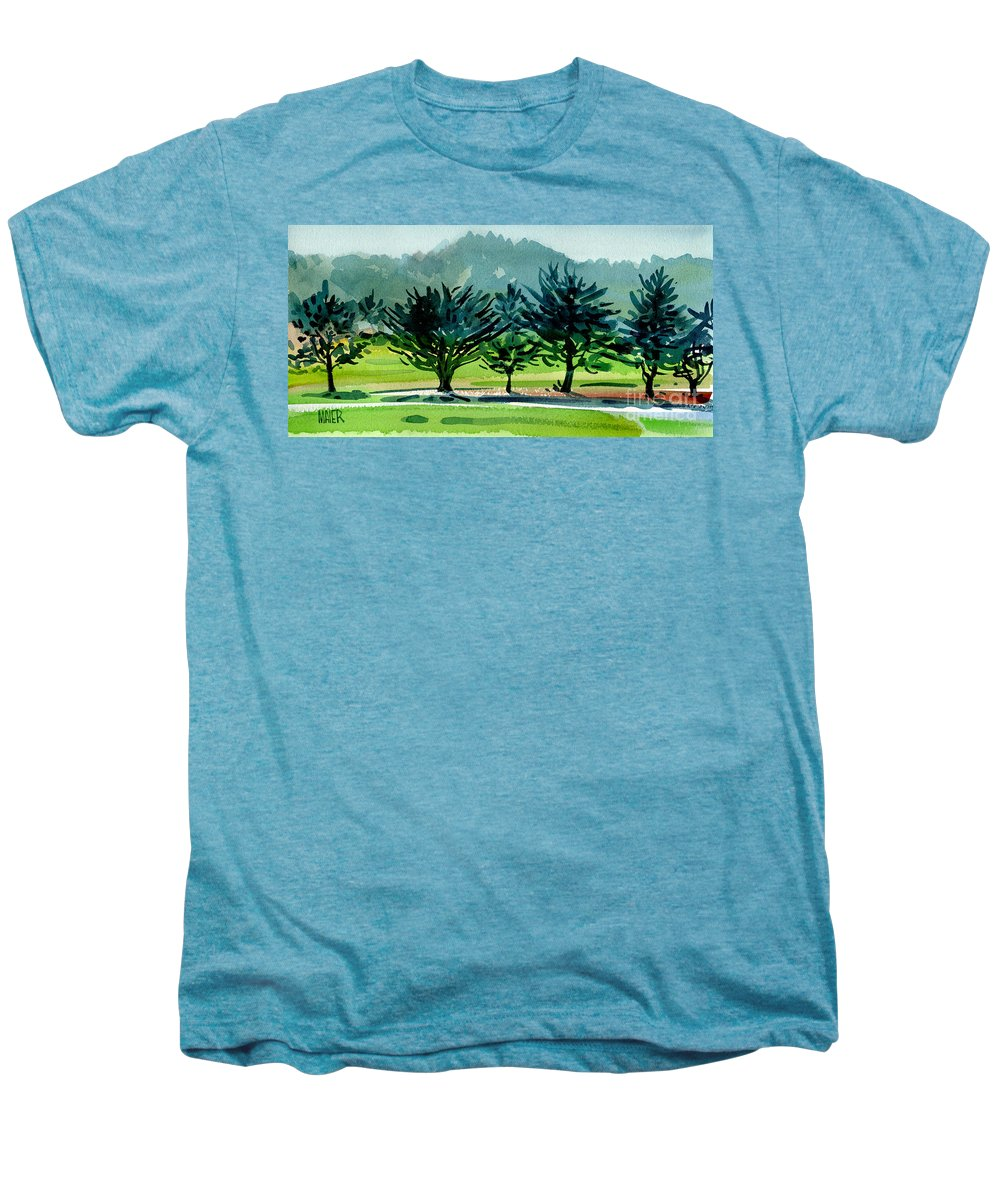 Crystal Springs Men's Premium T-Shirt featuring the painting Fairway Junipers by Donald Maier