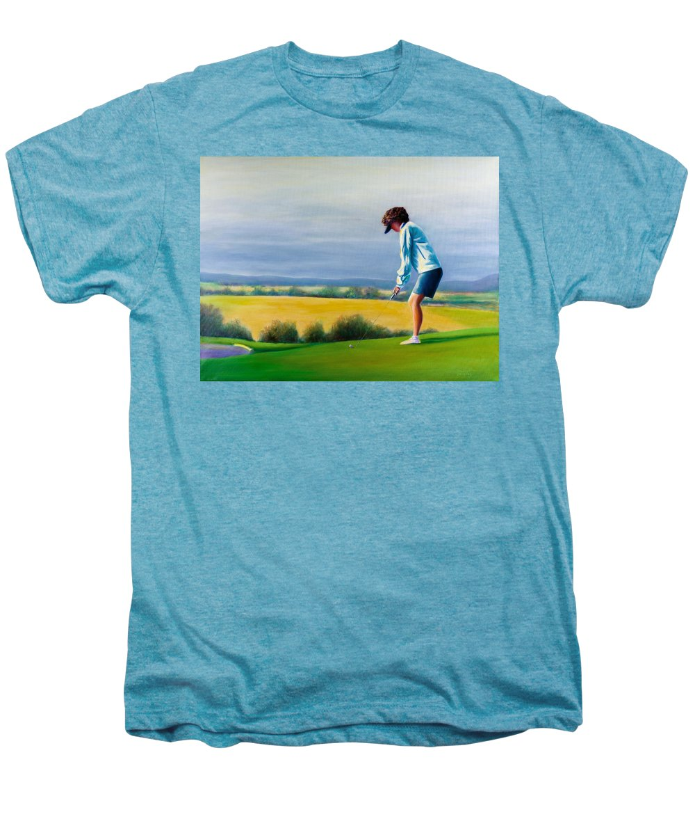 Golfer Men's Premium T-Shirt featuring the painting Fairy Golf Mother by Shannon Grissom
