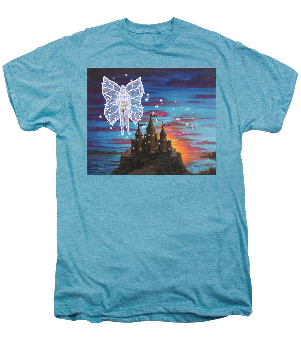Fantasy Men's Premium T-Shirt featuring the painting Fairy Takes The Key by Roz Eve