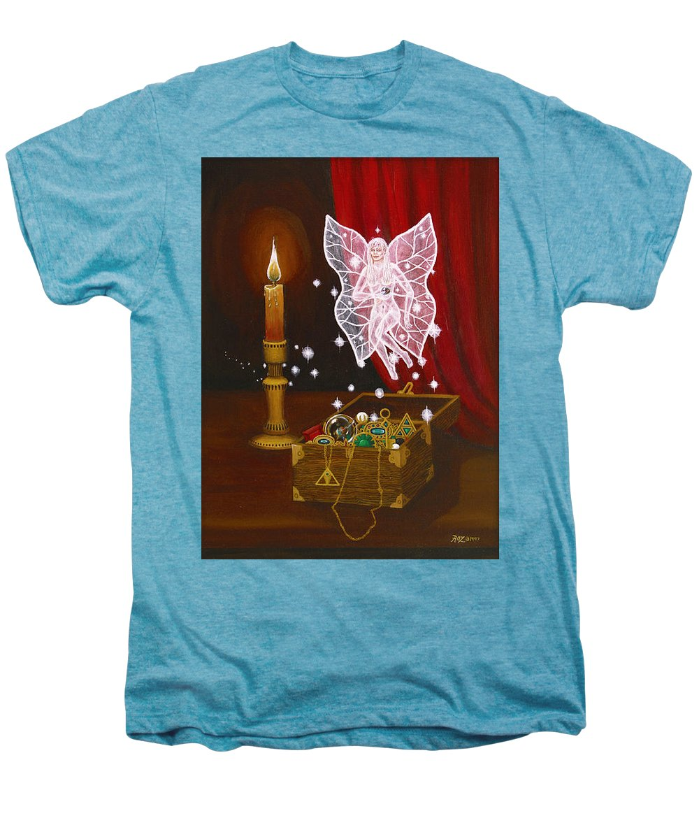 Fairy Men's Premium T-Shirt featuring the painting Fairy Treasure by Roz Eve