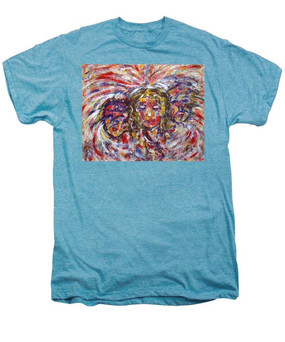 Woman Men's Premium T-Shirt featuring the painting Faith Hope And Love by Natalie Holland
