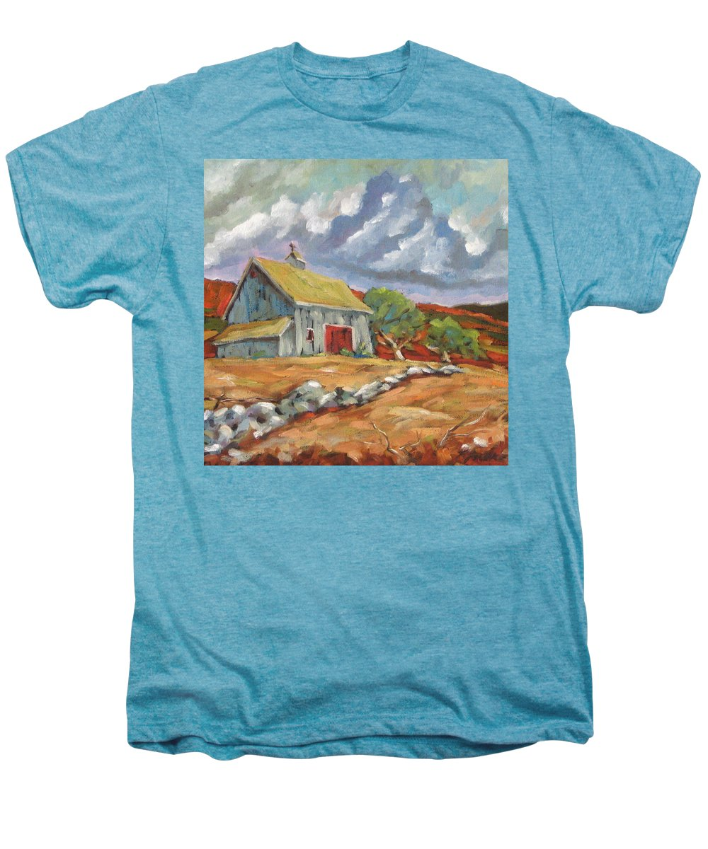 Farm Men's Premium T-Shirt featuring the painting Fall Scene by Richard T Pranke