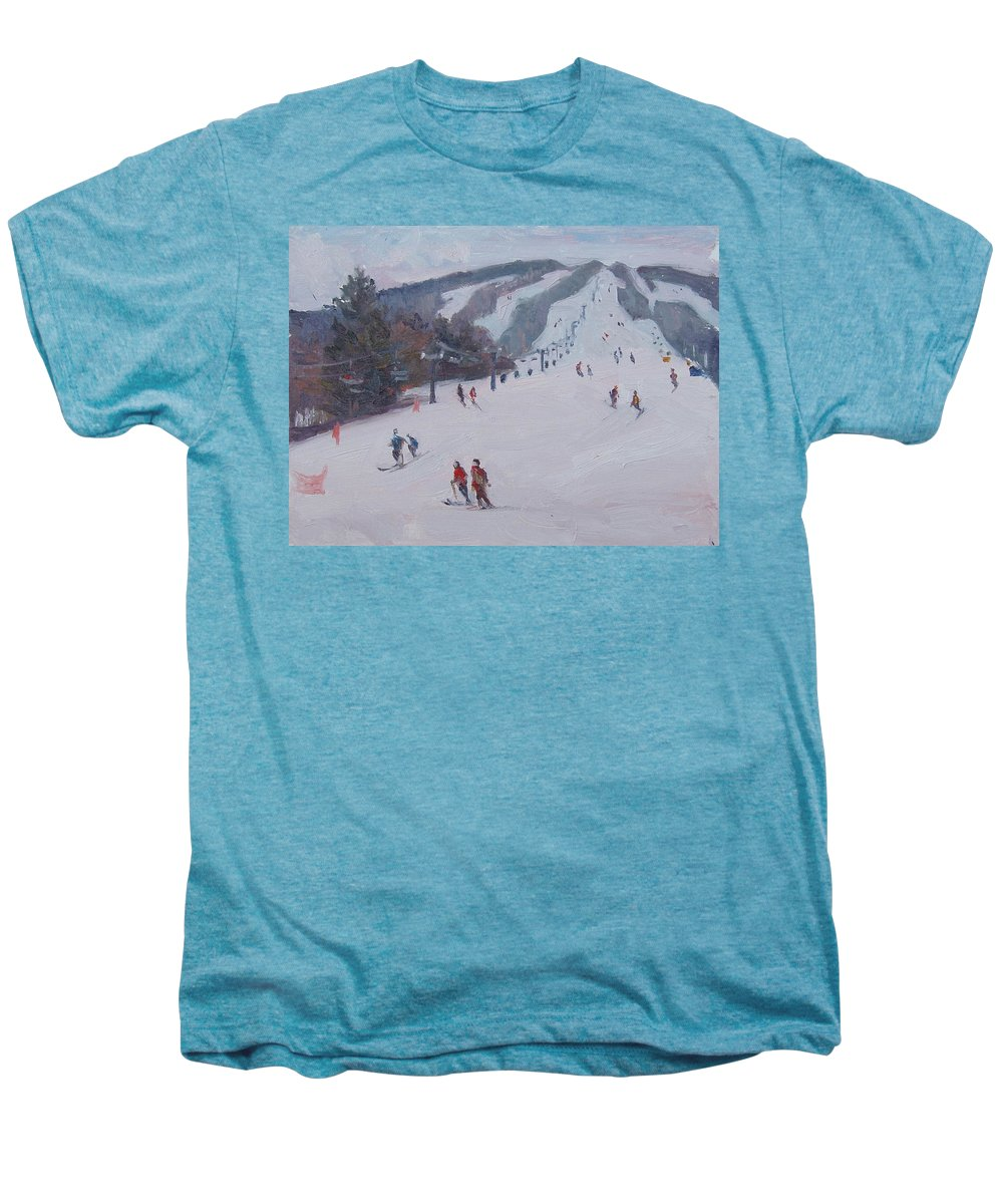 Landscape Men's Premium T-Shirt featuring the painting Family Ski by Dianne Panarelli Miller